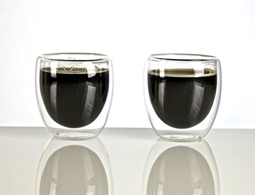 VizCása Double-Wall Insulated 2.5 Ounce (70 ML) Glass Espresso Shot Cups SET OF 2