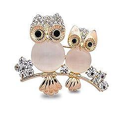 Rhinestone Covered Owl Shape Crystal Brooch