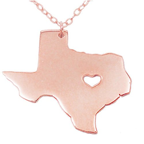 (Joyplancraft Texas State Necklace,TX State Charm Necklace,TX Map Shaped Necklace With A Heart (Rose Gold))