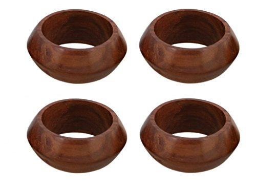 Shalinindia Handcrafted Table Dinner Decorations Wooden Napkin Rings Set of 4 for Party Décor - Napkin Holders
