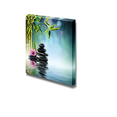 Canvas Prints Wall Art - Zen Stone and Hibiscus with Bamboo on The Water Spa Concept | Modern Wall Decor/Home Decoration Stretched Gallery Canvas Wrap Giclee Print & Ready to Hang - 12