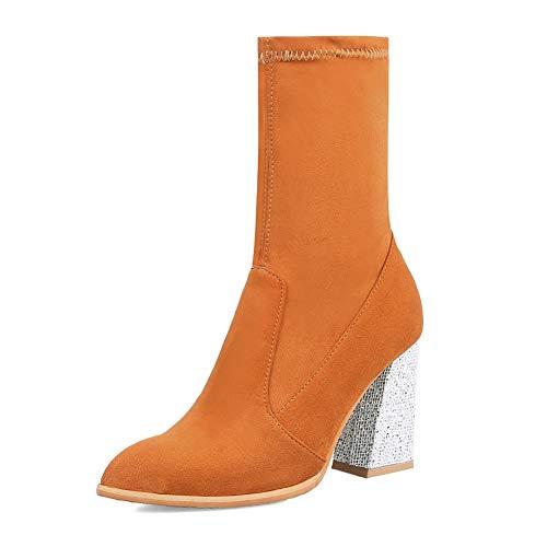 31 En Fiesta Zapatos Mujer Calidad Nuevo De Hoesczs Grande Tacón Resbalón Mejor Dropship Botas 43 Alto Yellow Tamaño qq7zxR4a