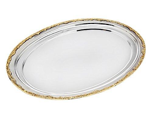 Border Platter (Godinger Silver Art Stainless Steel Oval Gold Rim Border Trim Serving Tray Platter)