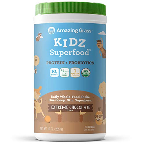 Amazing Grass Kidz Superfood: Organic Vegan Protein & Probiotics for Kids, Half a Cup of Greens per Serving , Extreme Chocolate, 15 Servings ()