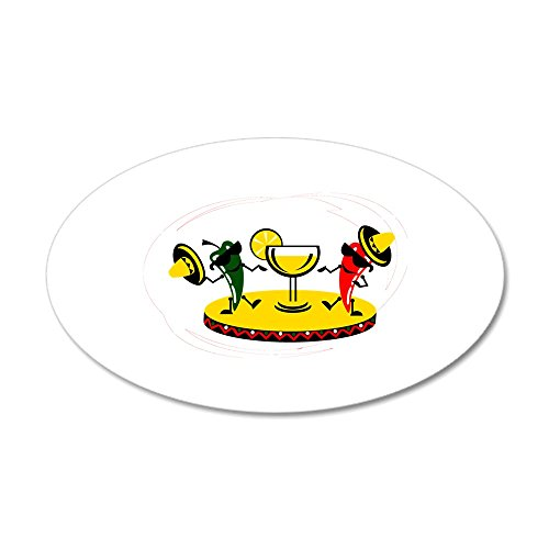 CafePress - Dancing Peppers with Drink Wall Decal - 35x21 Oval Wall Decal, Vinyl Wall Peel, Reusable Wall Cling ()