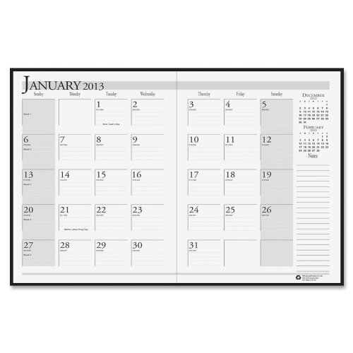 House of Doolittle 14-Month Planner, 2 Ruled Pages Per Month, December-January, 2012-2014, Black (Calendar For The Month Of December 2014)