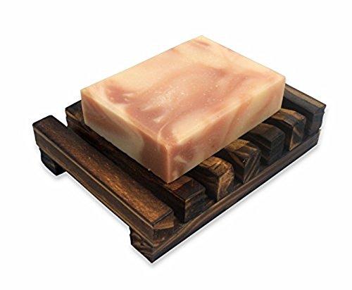 Dunkelbraun-Hawaii-Art Waschbecken Deck Seifenhalter Seifenschale aus Holz Rechteckige Hand Craft Naturseifenhalter
