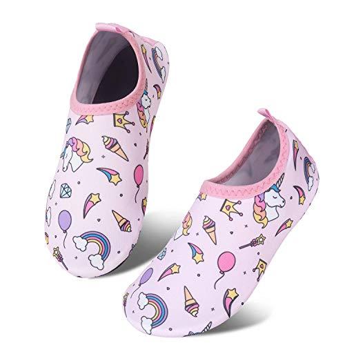 (Toddler Kids Water Shoes Lightweight Non-Slip Aqua Socks Shoes for Beach Walking for Boys Girls Toddler(smallUnicorn/Pink,28/29))