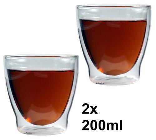 Feelino Rondorello doppelwandige Tee- und Kaffeegläser, 2er-Set 200ml Thermo-Gläser mit Schwebe-Effekt im Geschenkkarton, für Kaffee, Milchkaffee, Tee, Eistee, Cocktails, Whiskey und Eis