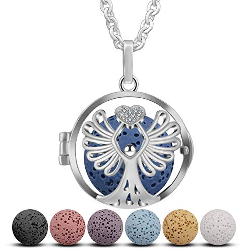 Angel Diffuser Necklace - Angel Essential Oil Diffuser Necklace, CELESTIA Aromatherapy Locket Pendant with 7 Reusable Coloured Lava Stones - 24