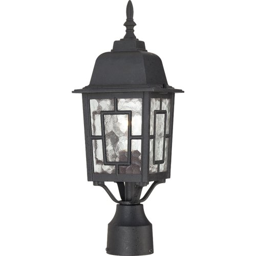 (Nuvo Lighting 60/4929 Banyon One Light Post Lantern 100 Watt A19 Max. Clear Water Glass Textured Black Outdoor Fixture)