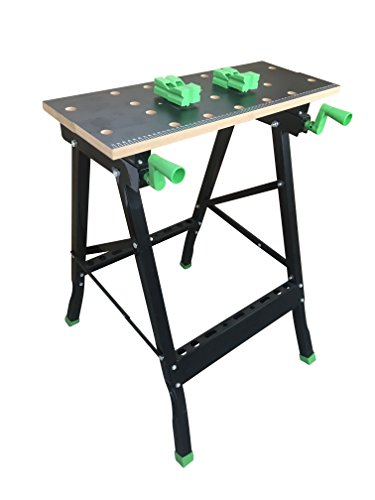 Folding Multipurpose Workmate Workbench Sawhorse With Clamp,Pegs and Tool Holders Tiltable Portable Work Table And Vise 350LBS Capacity by CASTOOL