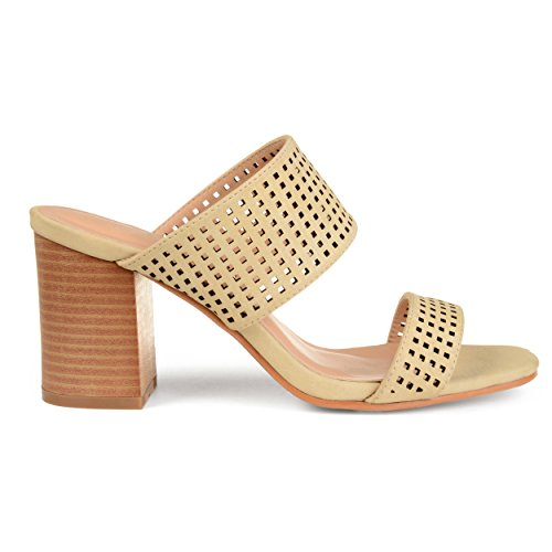 Brinley Co. Womens Santos Faux Leather Laser-Cut Dual-Strap Heeled Mules Nude, 9 Regular US ()