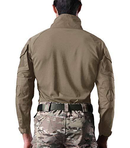KEFITEVD Chemise de Combat Homme Chemise Camouflage Militaire Tactique T-Shirt Slim Fit Chemise à Manches Longues 7