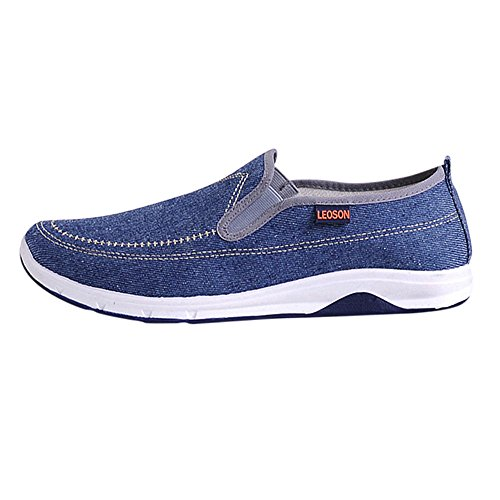 (Mysky Fashion Men Classic Pure Comfortable Denim Oxford Sneakers Lazy Slip-On Casual Shoes Blue)