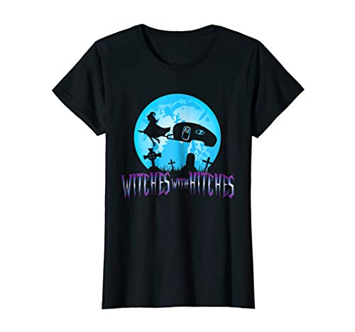 Womens Witches With Hitches Trailer RV Camp Halloween Quote T-Shirt XL Black ()