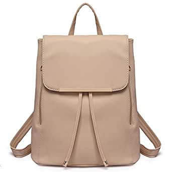 Miss Lulu Women Backpacks Ladies PU Leather Fashion Shoulder Bag Girls School Bags Drawstring Daypack Travel Rucksack (Beige 1669)
