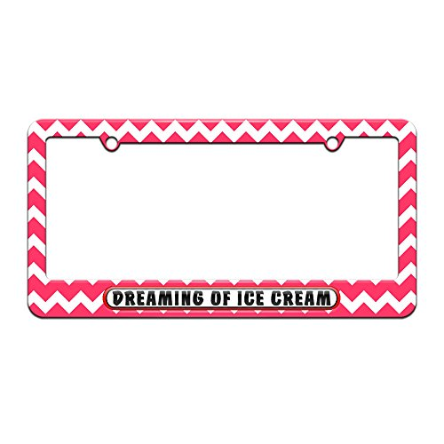graphics-and-more-dreaming-of-ice-cream-license-plate-tag-frame-pink-chevrons-design