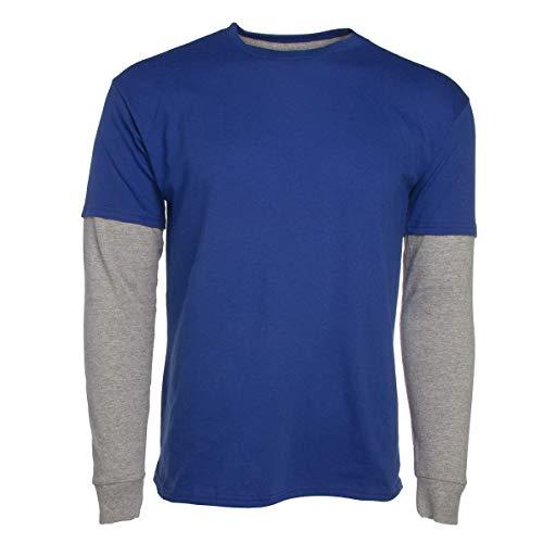 Hanes Boys Breathable Cotton Layered Long Sleeve T Shirts Kids Premium 2-Tone Tee Shirt for Boys Tagless