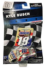 NASCAR Authentics Kyle Busch #18 Diecast Car 1/64 Scale - 2018 Wave 9 - Kyle Busch 2018 No. 18 with Pit Sign Magnet - Collectible
