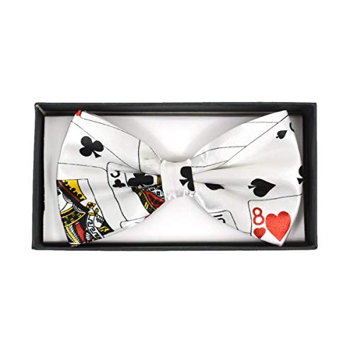 (Urban-Peacock Men's Banded Bow Tie with Gift Box (Playing Card - White))