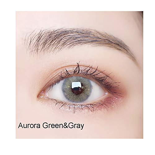 One Pair Color Change Halloween Cosplay (Aurora Grey&Green) (Contact Eyes Color Green)
