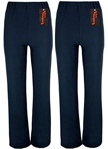 KACEY MORGAN conjunto de dos pantalones de mujer con cuidado corte acampanado. Tallas 38-54, tres largos distintos, negro, azul marino o marrón. azul marino