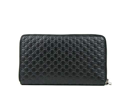 Gucci Unisex Black GG Guccissima Leather Zip Around Wallet 391465 1000 ()