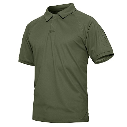 TACVASEN Men's Tactical Military Lightweight Airsoft Pullover T-Shirt Combat Polo Shirts Army - Classic Light Green