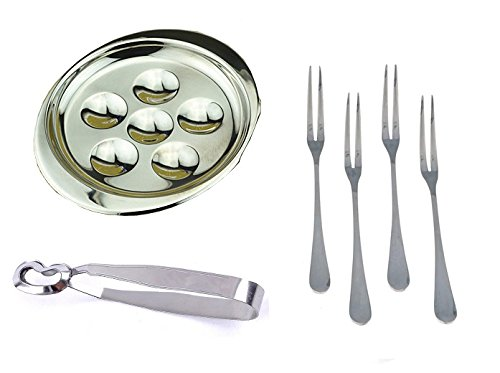 MBB Escargot Dining Set 6 Compartment Holes Snail Plate Tong 4 Forks Stainless ()