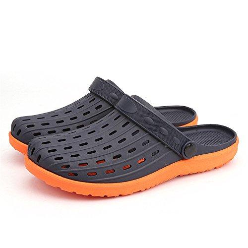 Color adatti Black Orange e Grayish libero gli il EU per al all'aperto 42 tempo black zoccoli esterni da Xiaoqin coperto Sandali per uomo Size 0SqgFaa