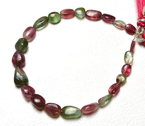 GemAbyss Beads Gemstone 1 Strand Natural 7 inch AAA Super Finest Natural Rare Bi Color Tourmaline Multi Color Smooth Nuggets 4 to 10 MM Code-MVG-29634 ()
