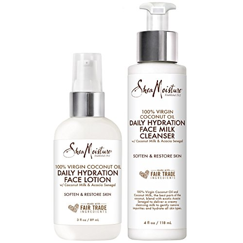 Shea Moisture 100% Virgin Coconut Oil Pack Duo | Daily Hydration Face Lotion 3 Ounce & Daily Hydration Face Milk Cleanser 4 Ounce