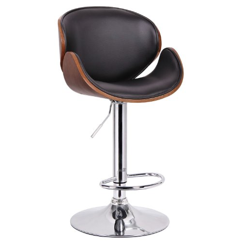Walnut Bar Modern Stool - Baxton Studio Crocus Walnut and Black Modern Bar Stool