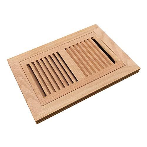 (Homewell Red Oak Wood Floor Register, Flush Mount Vent with Damper, 6X10 Inch, Unfinished)