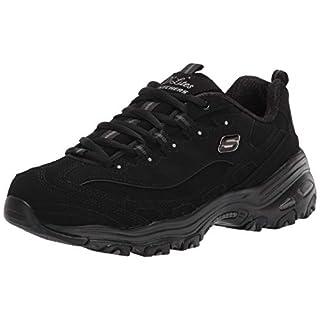 Skechers Sport Women's Dlites-play On Memory Foam Lace-up Sneaker,Black/Black,8 M US