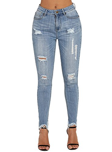 Dokotoo Womens Wash Blue Fashion Basice 5 Pockets Distressed Ripped Hole Stretched Destroyed Fringe Skinny Jeans Pants (Distressed Blue Wash)