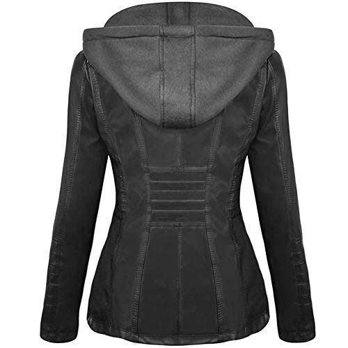 Newbestyle Womens Hooded Faux Leather Jacket Quilted Zip Up Jacket S-2XL