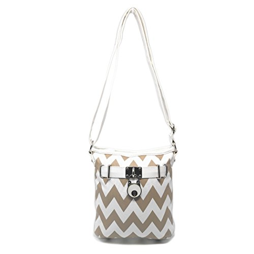Chevron Stripe Medium Crossbody Bag Purse, Sling Purse Chevron Pattern w/ Charm (Khaki & White) (Purse Pattern Sling)