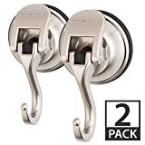 FE-H2005-2PK | 2 Pack | Powerful Push and Lock Stainless Steel Metal Kitchen, Shower, Bathroom Organizer, Towel Coat, Swivel Suction Hook Holds up to 13 lbs in Matte Nickel