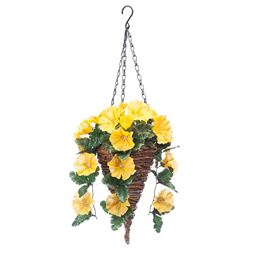 - OakRidge Fully Assembled Petunia Cone Basket, Yellow - Artificial Polyester/Plastic Florals for Indoor and Outdoor Use