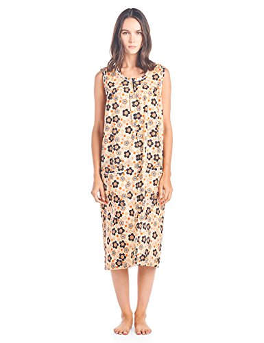 Casual Nights Women's Zip Up Sleeveless Duster Robe - Orange Borwn - XX-Large (Robe Day Front Dress)