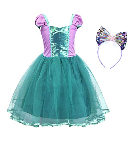 Cotrio Little Mermaid Costume Dress Girls Princess Dresses with Bow-Knot Headband Halloween Party Cosplay Outfit (3T, 2-3Years, Green)