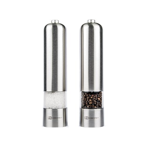 HOME DELICÉ Electric Salt and Pepper Grinder Set (2-pack), Stainless Steel Himalayan Salt Shakers, Modern Kitchen Silver Metal Grinder Set, Battery Operated Salt-and-Pepper Mill Set with LED Light
