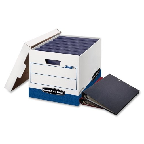 """Bankers Box 73301 Binder Storage Box - TAA Compliant - Internal Dimensions: 12.25"""" Width x 18.50"""" Depth x 12"""" Height - Stackable - Heavy Duty - External Dimensions: 13.1"""" Width x 20.1"""" Depth x 12.4"""" Height - White, Blue - File - 12 / Carton"""