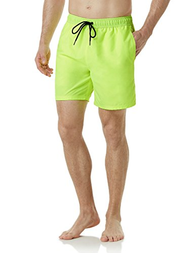 TSLA Men's Swimtrunks Quick Dry Water Beach, Solid(msb13) - Neon Yellow, Large ()