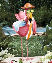 18u0026quot; Metal Flamingo Man Garden Statue Yard Sculpture