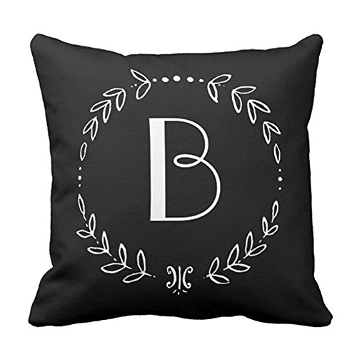 SPXUBZ Black Monogram Grass Ring Pillow Cover Decorative Home Decor Nice Gift Square Indoor/Outdoor Pillowcase Size: 20x20 Inch(Two Sides)