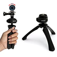 iGadgitz PT310 Mini Lightweight Table Top Stand Tripod and Grip Stabilizer + Adaptor Mount Thumb Screw & Nut for TomTom Bandit (TomTom Mount Adapter Required)