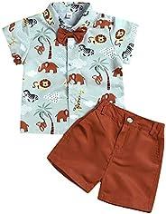 1-7T Toddler Little Boy Kids Summer Animals Print Shirt Shorts Pants Clothes Set